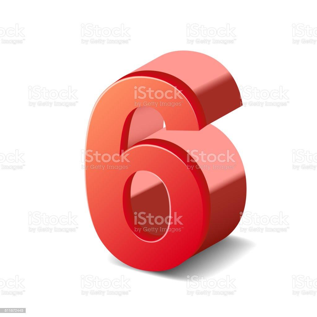 3d shiny red number 6 vector art illustration