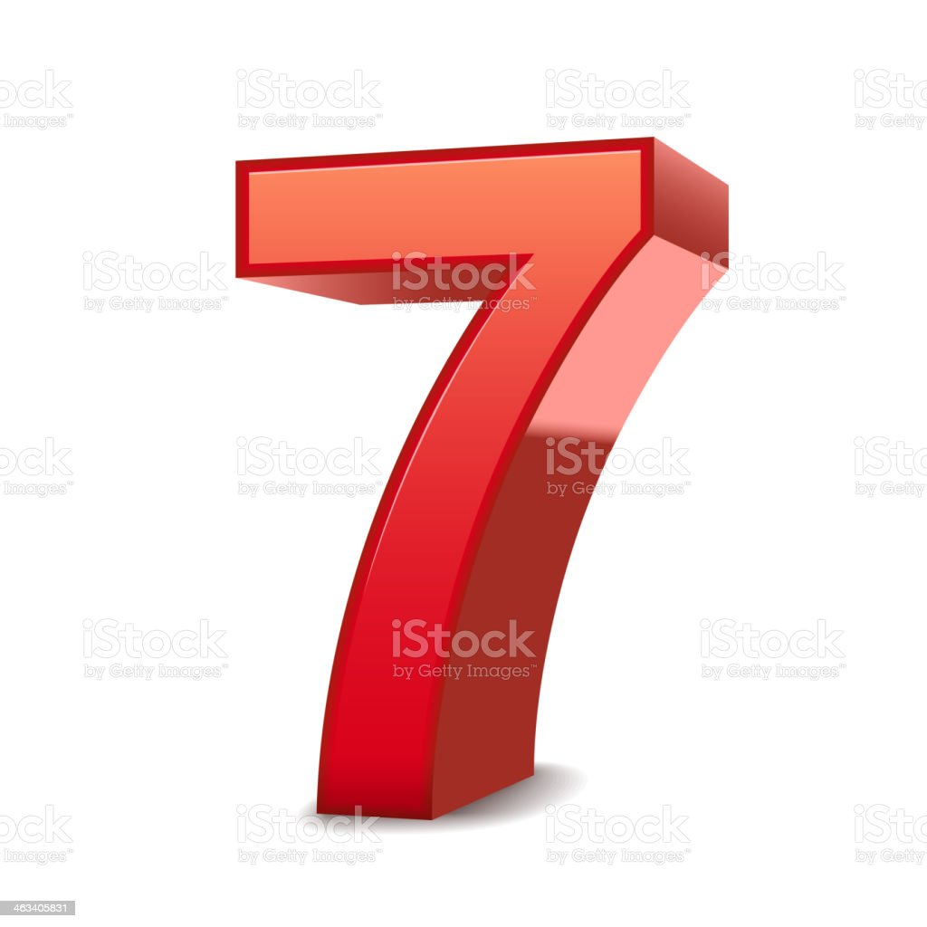 3d shiny red number 7 royalty-free stock vector art