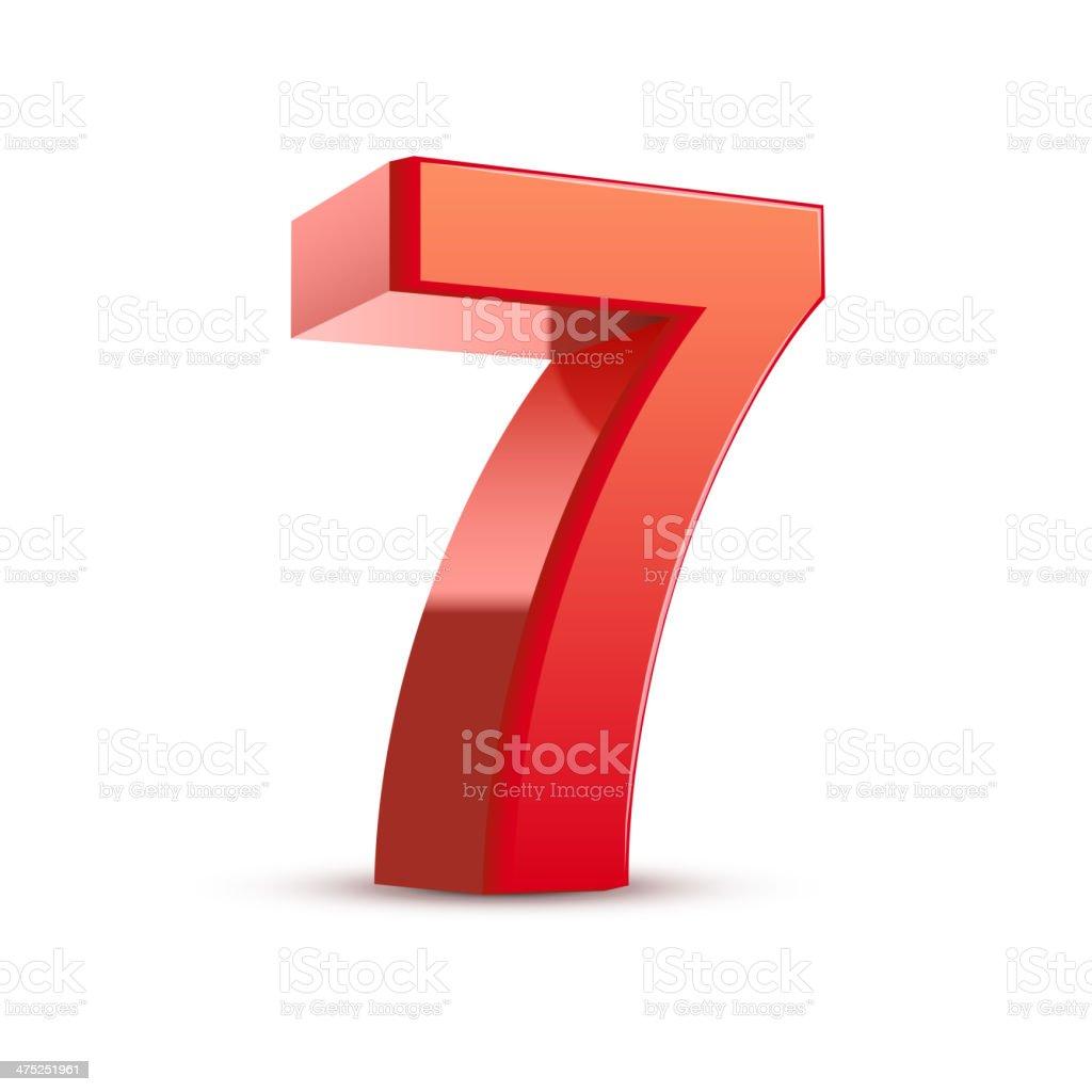 3d shiny red number 7 vector art illustration