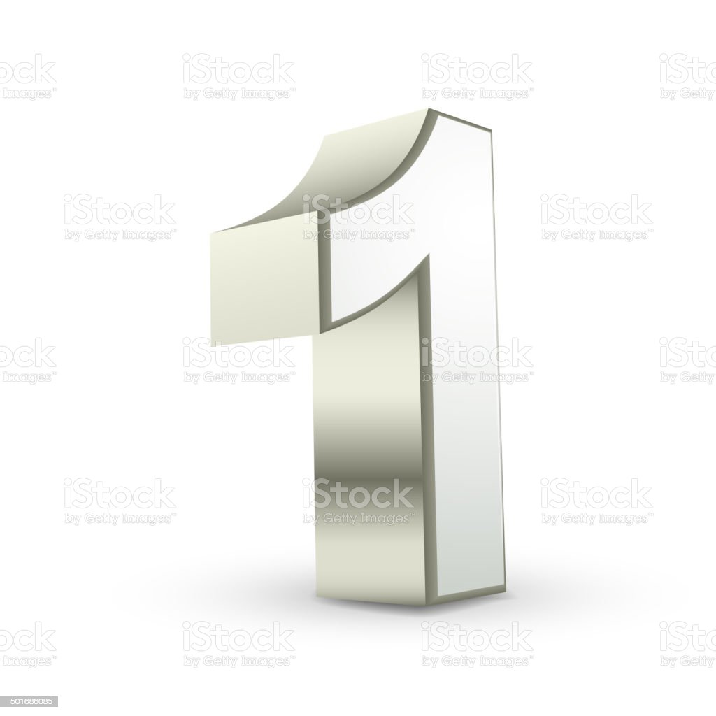 3d shiny silver number 1 vector art illustration
