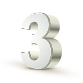 3d shiny silver number 3 on white background