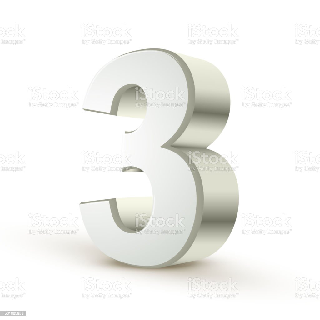 3d shiny silver number 3 vector art illustration