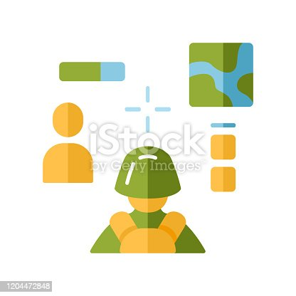 3d shooter flat design longo ícone de cor de sombra. Videogame virtual. Multiplayer online. Battle Royale. Ciberesporte, competição de esport, missão. Interface de jogo de computador. Ilustração da silhueta vetorial