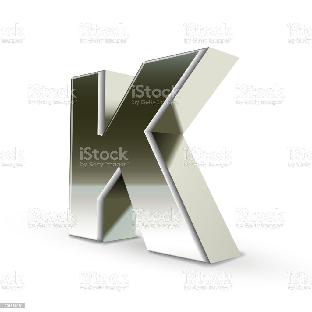 3d silver steel letter K vector art illustration