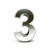 3d silver steel number 3 isolated white background