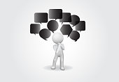 3d small people negative ideas icon vector