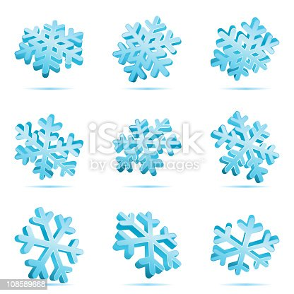 Set 3d blue shiny snowflakes vector icons
