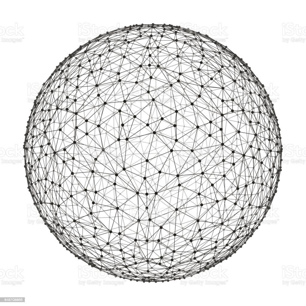 esfera 3D. Conexões digitais globais. Conceito de tecnologia. Ilustração em vetor. - ilustração de arte em vetor