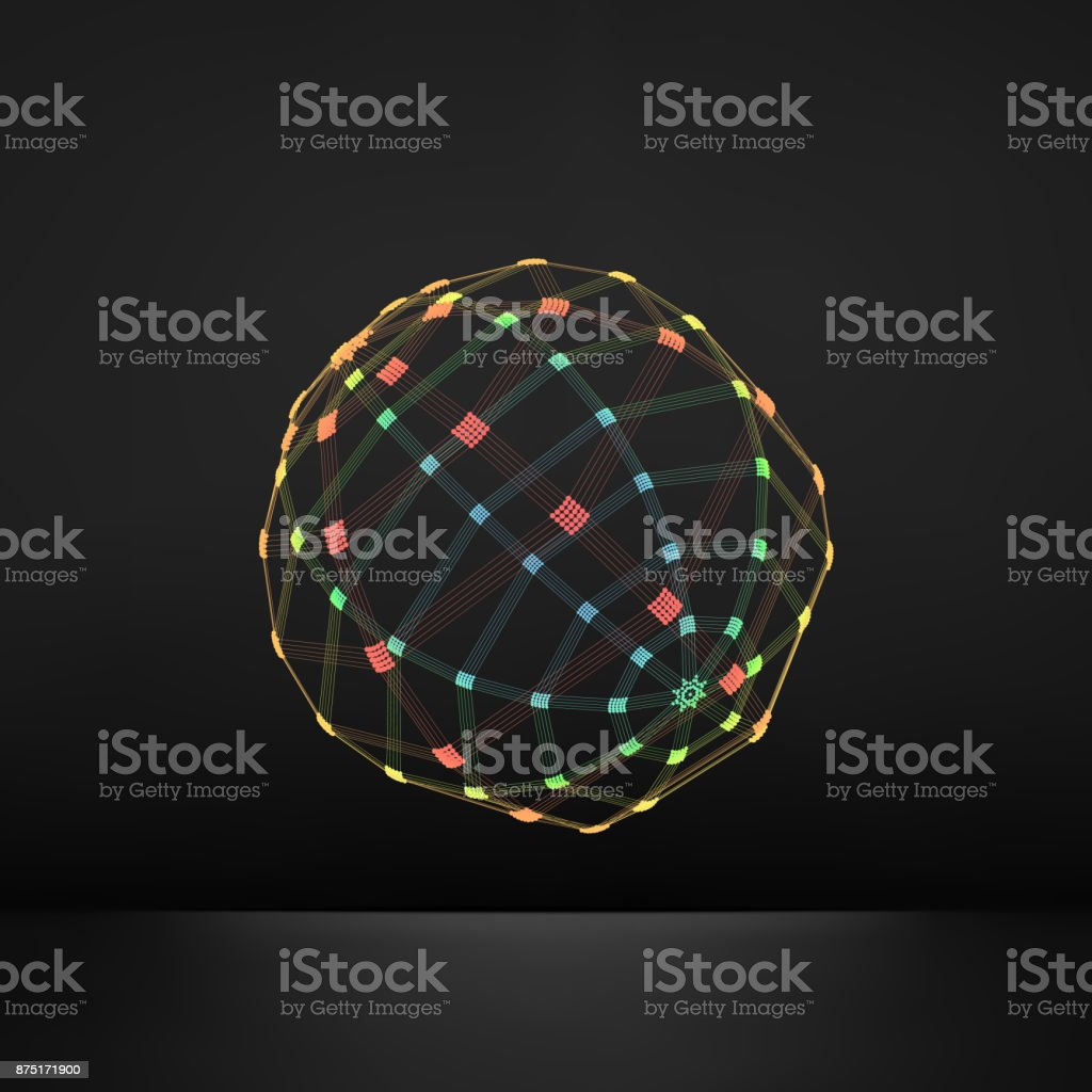 3d Sphere. Global Digital Connections. Technology Concept. Vector Illustration. Wireframe Object with Lines and Dots. Geometric Shape for Design. Lattice Geometric Element, Emblem and Icon. vector art illustration