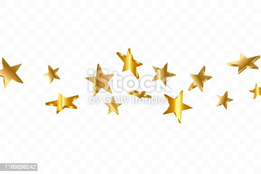 istock 3d Star Falling. Gold Yellow Starry on transparent Background. Vector Confetti Star Background. Golden Starlit Card. Confetti Fall Chaotic Decor. 1169896242