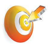 3d Target Arrow Bullseye Vector Icon