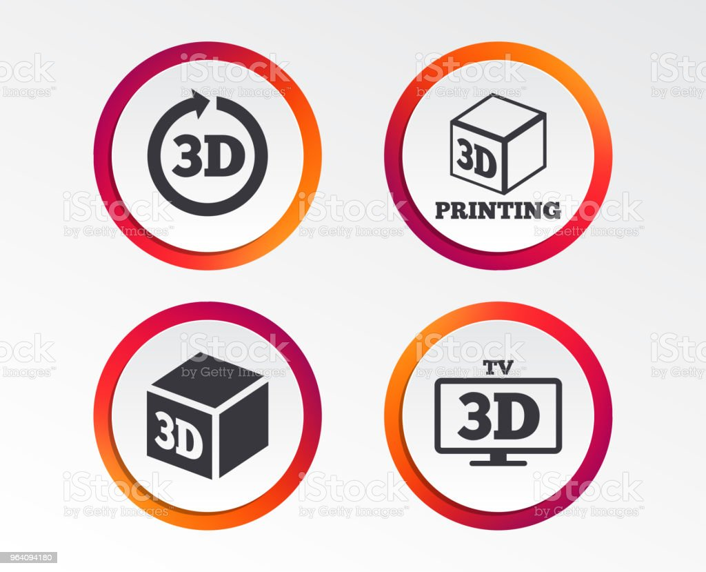3d technology icons. Printer, rotation arrow. - Royalty-free 360-Degree View stock vector