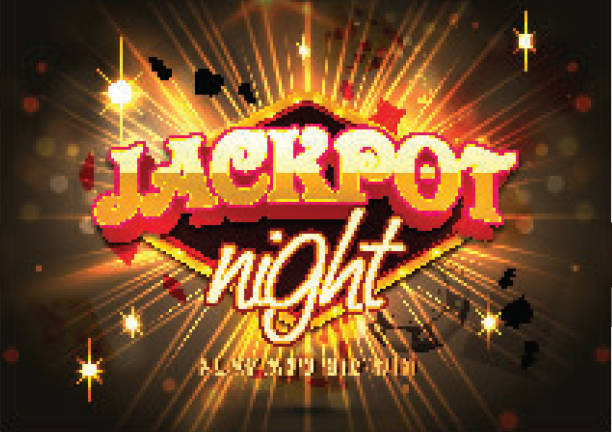 3d text Jackpot Night on shiny bokeh background, poster or banner design. 3d text Jackpot Night on shiny bokeh background, poster or banner design. gambling stock illustrations