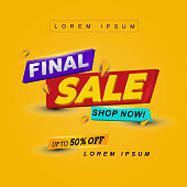 3d title header final sale banner with yellow background. Vector illustration. for promotional product or service and more