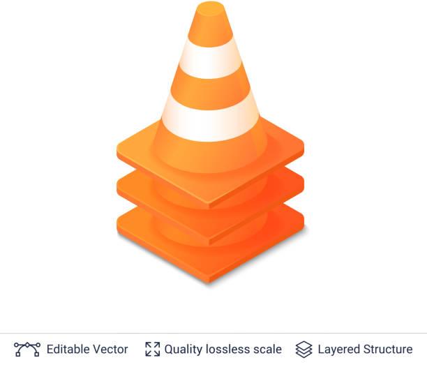 desenho de cone de tráfego rodoviário laranja vetores e ilustrações