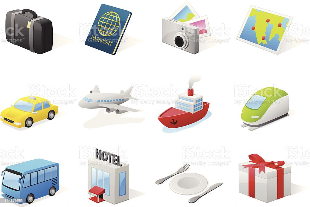 3d travel icons royalty-free stock vector art