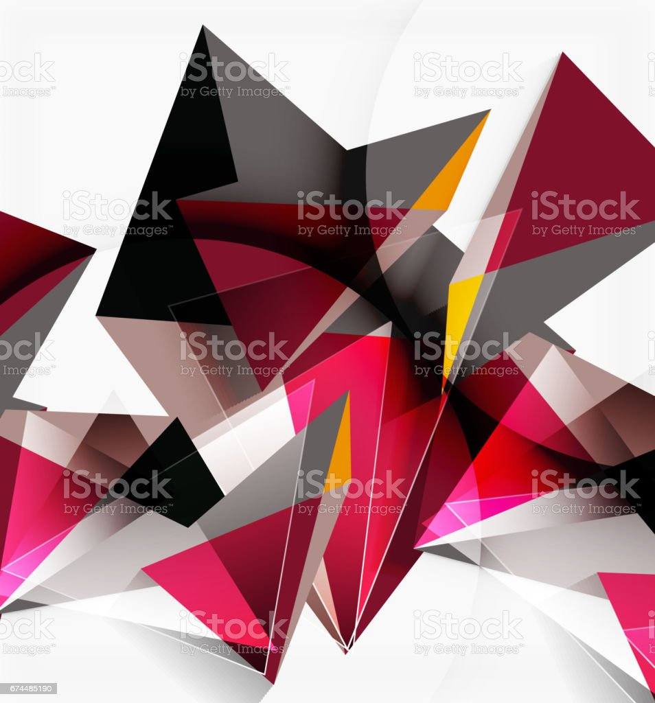 3d triangles and pyramids abstract geometric vector のイラスト素材