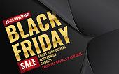 3d unfolding black paper wrapper revealing amazing Black Friday typography design banner