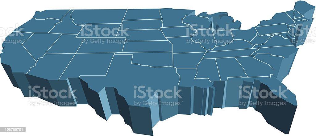 3d USA Map vector art illustration