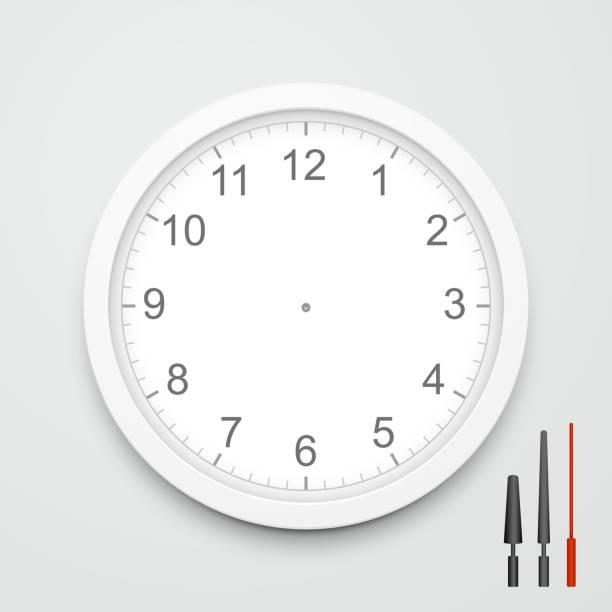 3d vector blank clock face - clock face stock illustrations, clip art, cartoons, & icons