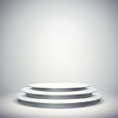 3d vector blank template layout of white empty stage