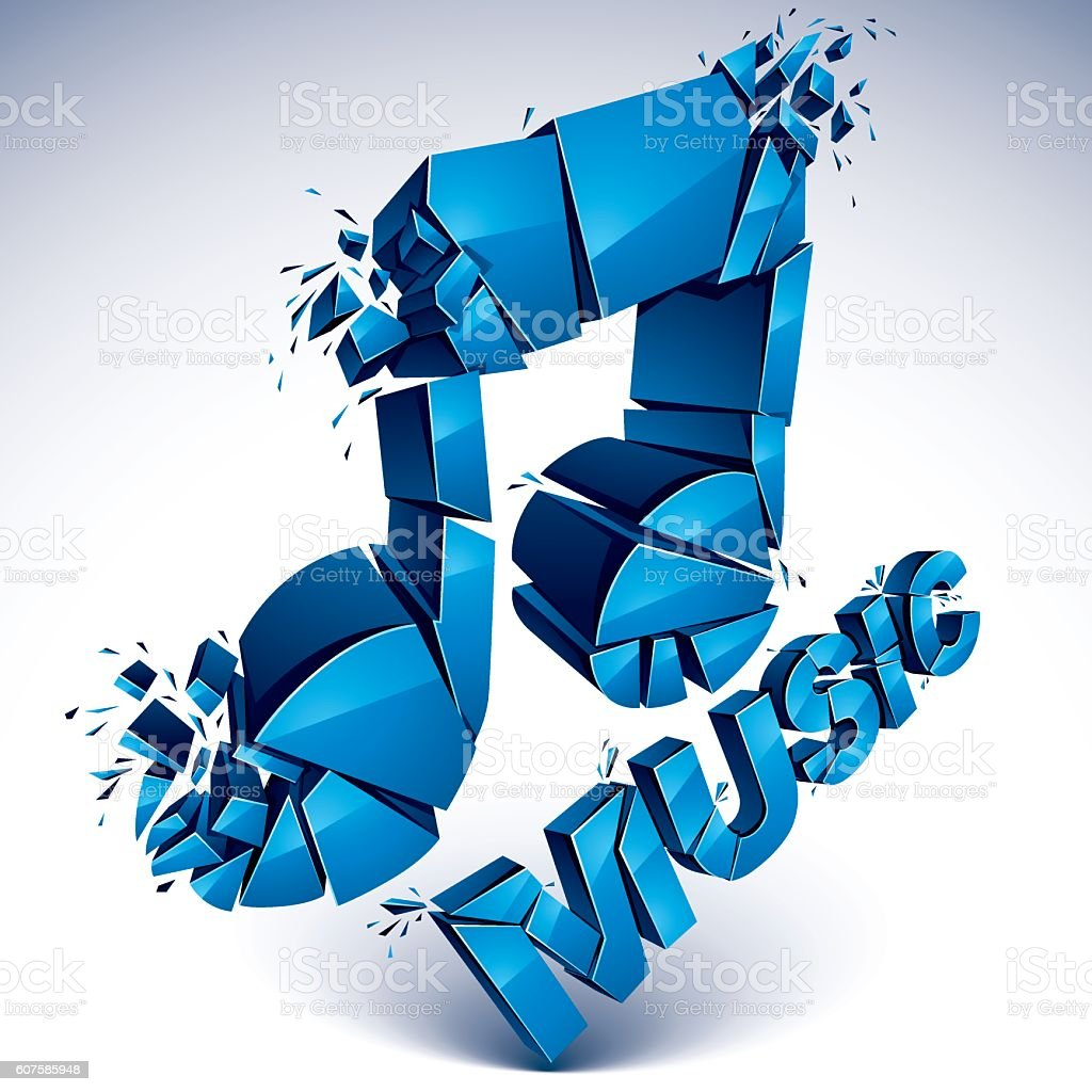 3d vector blue shattered musical notes with music word art royalty free 3d vector