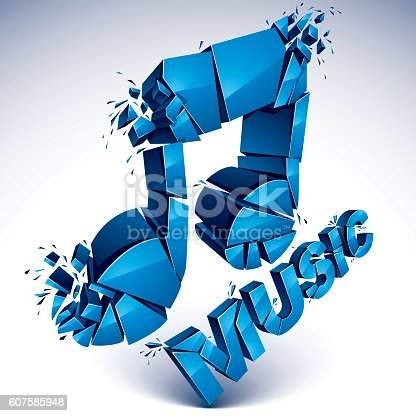 3d Vector Blue Shattered Musical Notes With Music Word Art Vektor