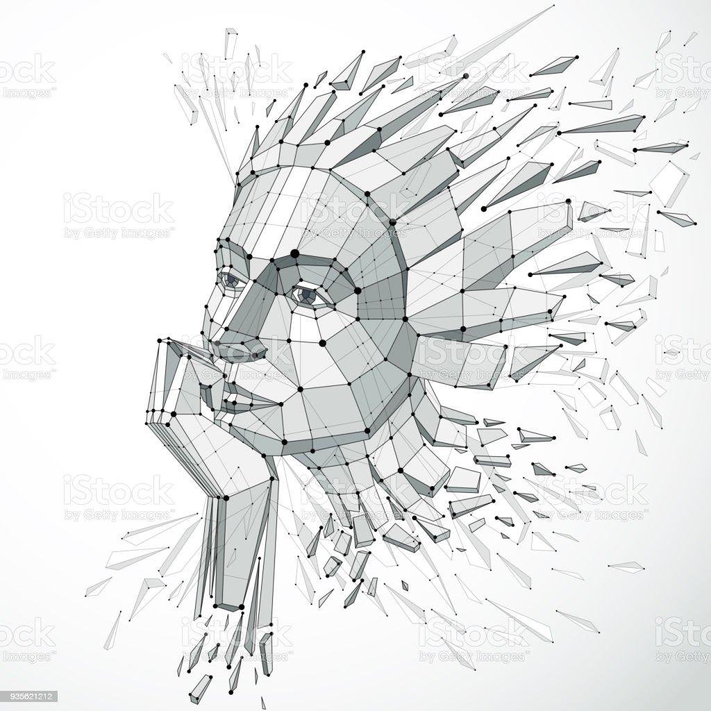 低ポリ スタイルで作成された人間の頭の 3 D ベクトル イラスト物思いに
