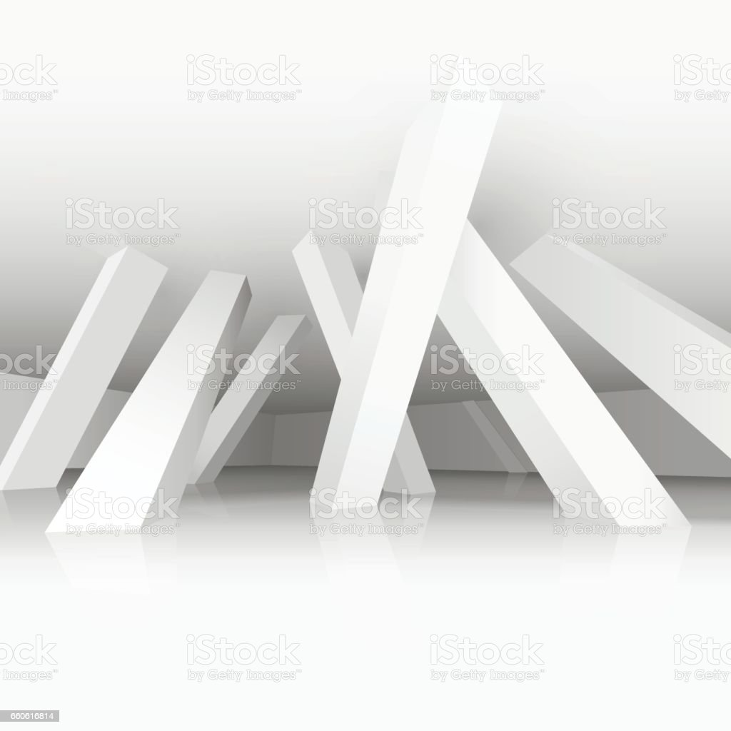 3d vector illustration. White modern interior of a non-existent room with inclined in different directions supporting columns. Architectural background with empty space. royalty-free 3d vector illustration white modern interior of a nonexistent room with inclined in different directions supporting columns architectural background with empty space stock vector art & more images of abstract