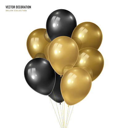 3d vector realistic golden with black bunch of helium balloons isolated on white background. Decoration element design for birthday, wedding, parties, celebrate festive.