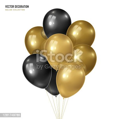 3d vector realistic golden with black bunch of helium balloons isolated on white background. Decoration element design for birthday, wedding, parties, celebrate festive.  Vector illustration template