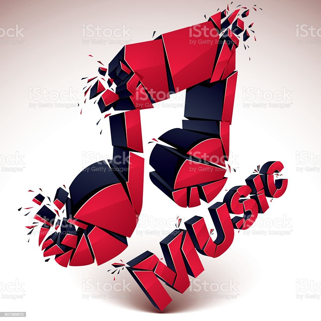 3d Vector Red Shattered Musical Notes With Music Word Art Stock