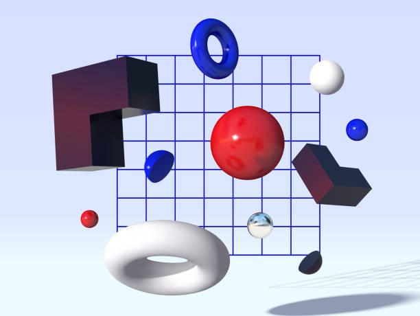 stockillustraties, clipart, cartoons en iconen met 3d vectorvormen die voor het rooster vliegen - driedimensionaal