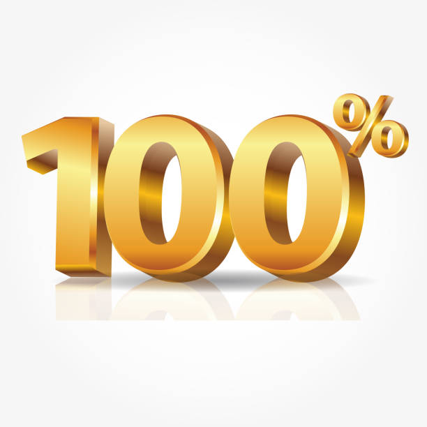 bildbanksillustrationer, clip art samt tecknat material och ikoner med 3d vektor glänsande guld 100 procent text speglar isolerad på vit bakgrund. - nummer 100