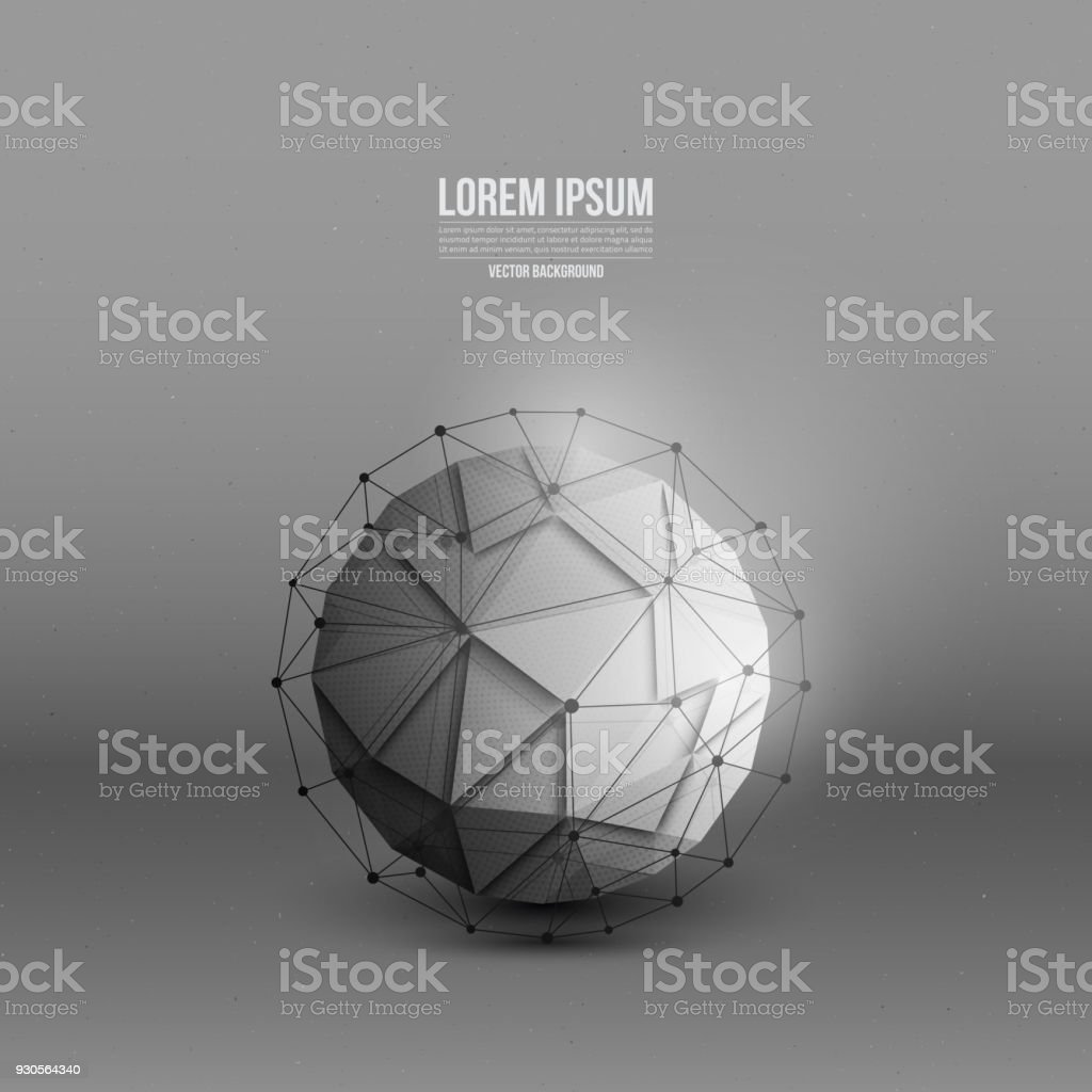 Abstract 3d vector technology orb with wireframe structure...