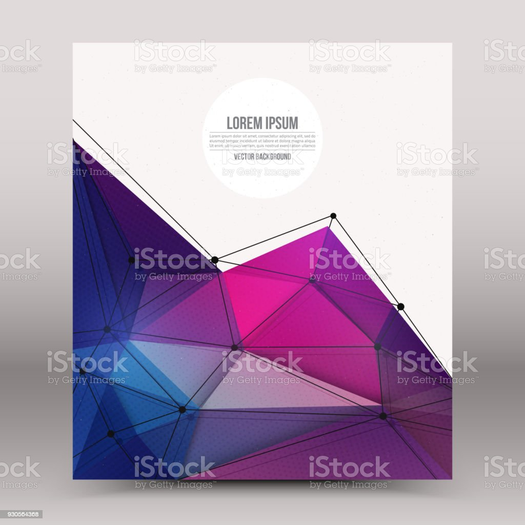 Abstract 3d vector technology colorful shape with wireframe structure...