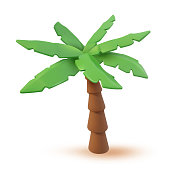 istock 3d Vector Tropical palm cartoon illustration. Tropic jungle realistic plant isolated on white. Minimal summertime palmtree object render design 1316118086