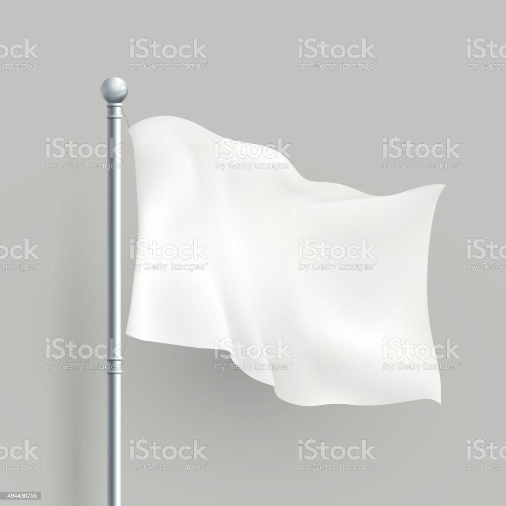 3d vector white flag blank template vector art illustration