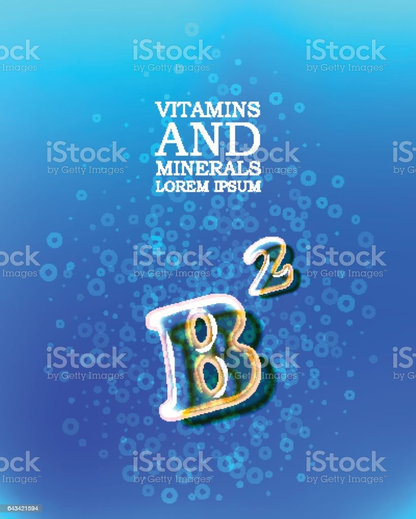 3d vitamin glass sign vector art illustration