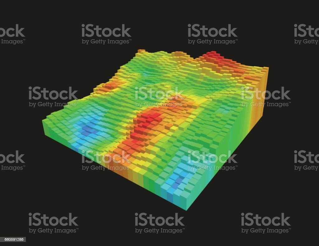 3d voxel heatmap vector art illustration