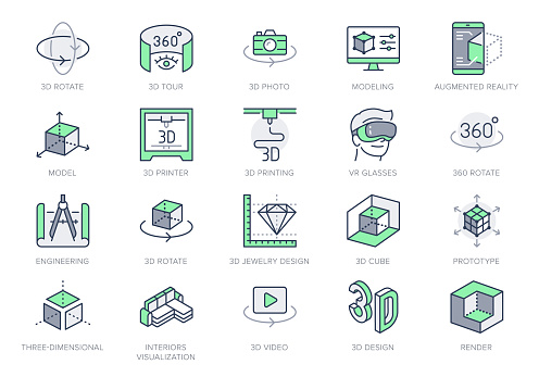3d vr design line icons. Vector illustration included icon - virtual augmented reality, glasses, ar simulator, printer, prototype outline pictogram for ar. 64x64 Green Color Editable Stroke