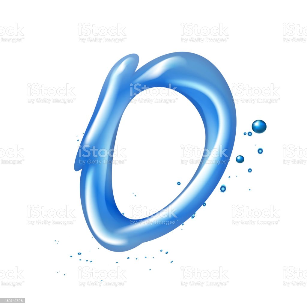 3d water letter O vector art illustration