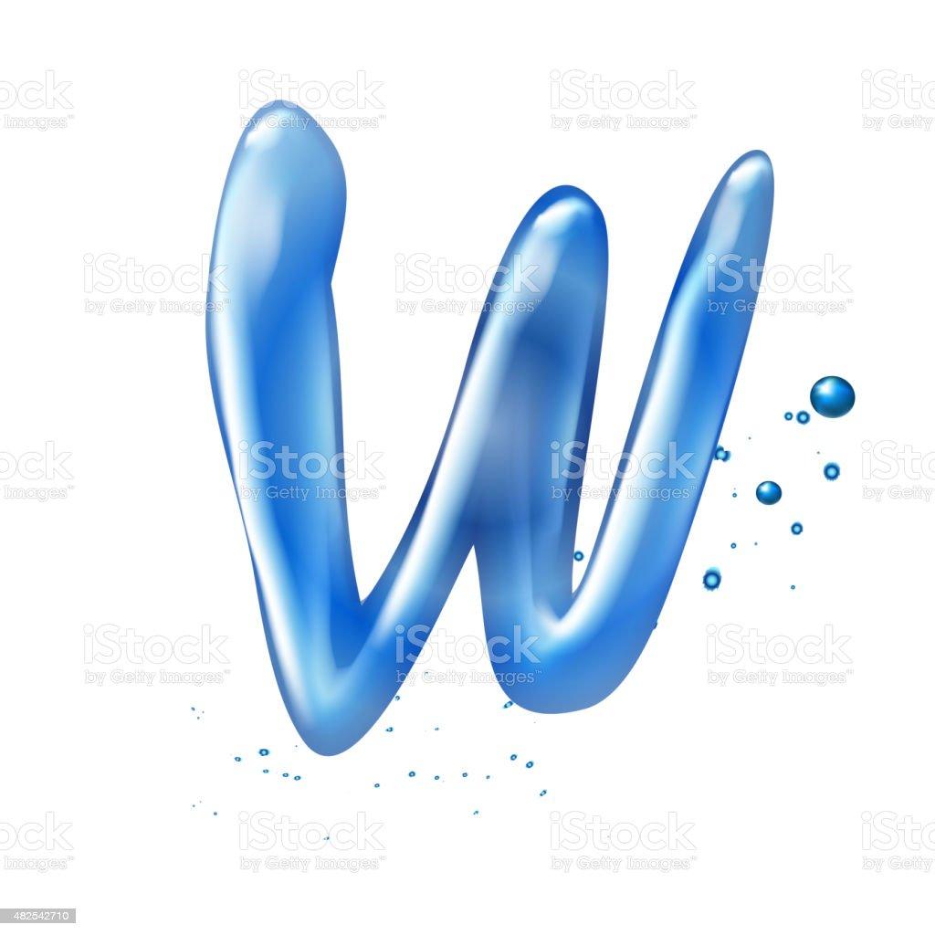3d water letter W vector art illustration