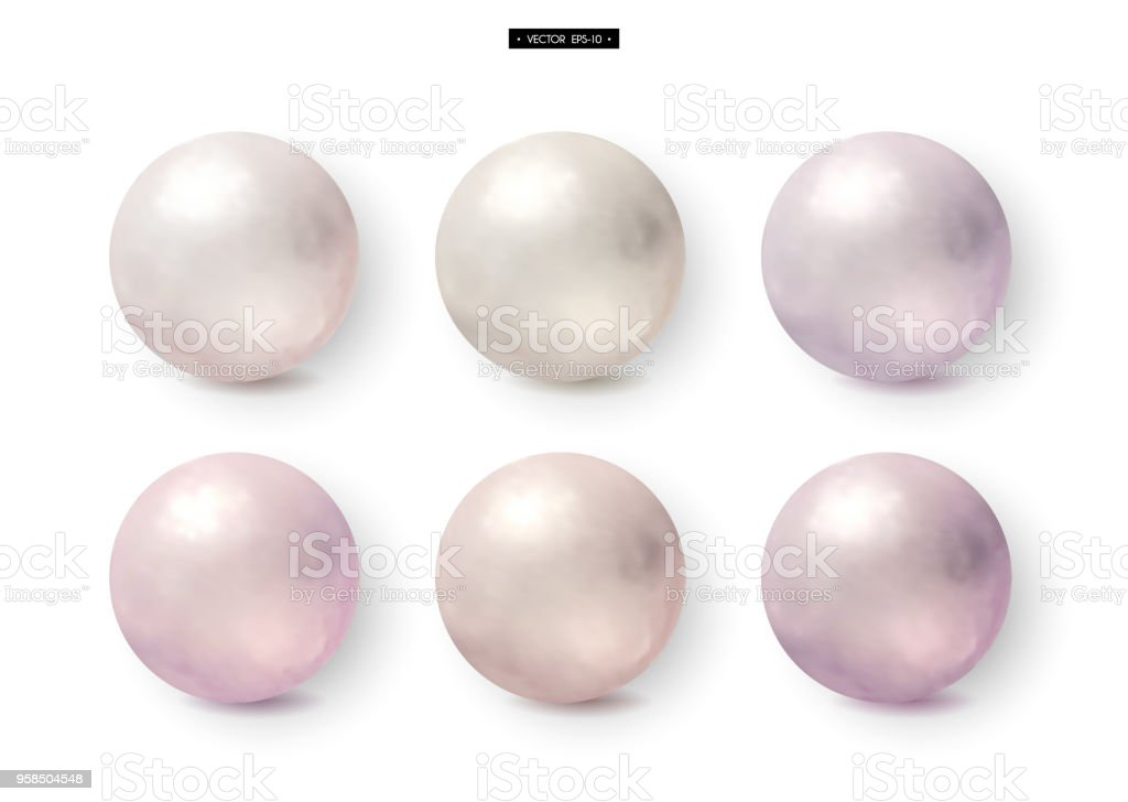 3d white and pink realistic pearls. Jewelry Vector vector art illustration