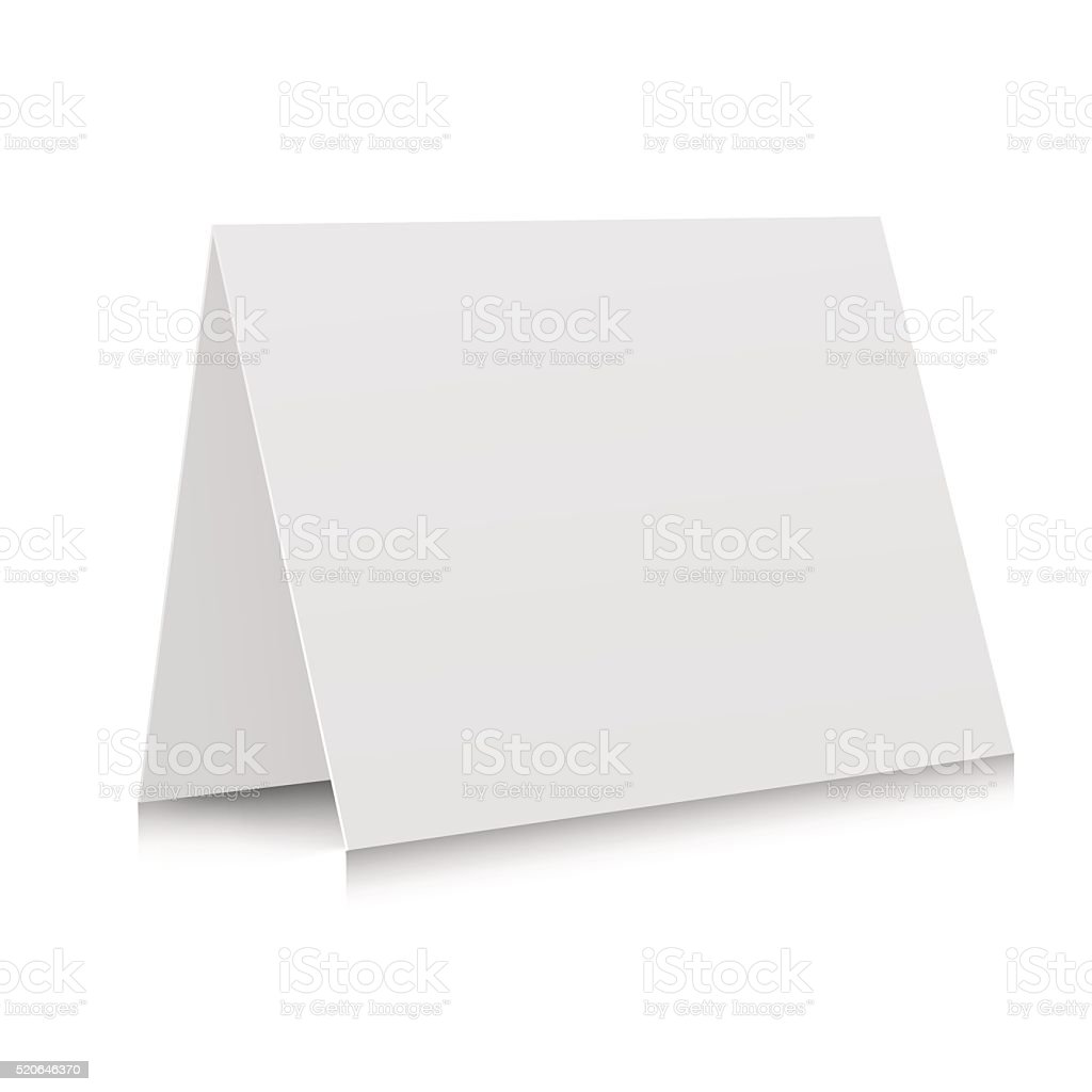 3d white blank paper card vector art illustration