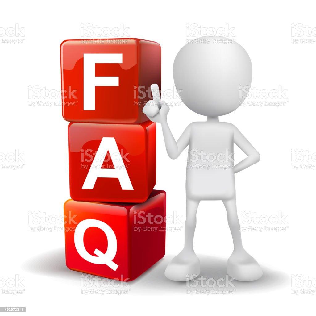 3 d Ilustração de pessoa com palavra FAQ cubos - ilustração de arte em vetor