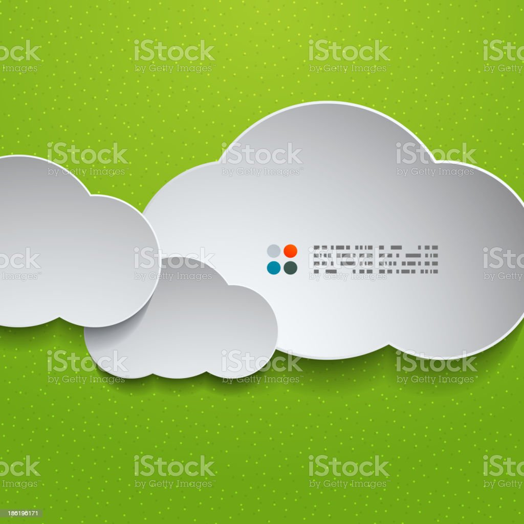 3d white clouds on green royalty-free stock vector art