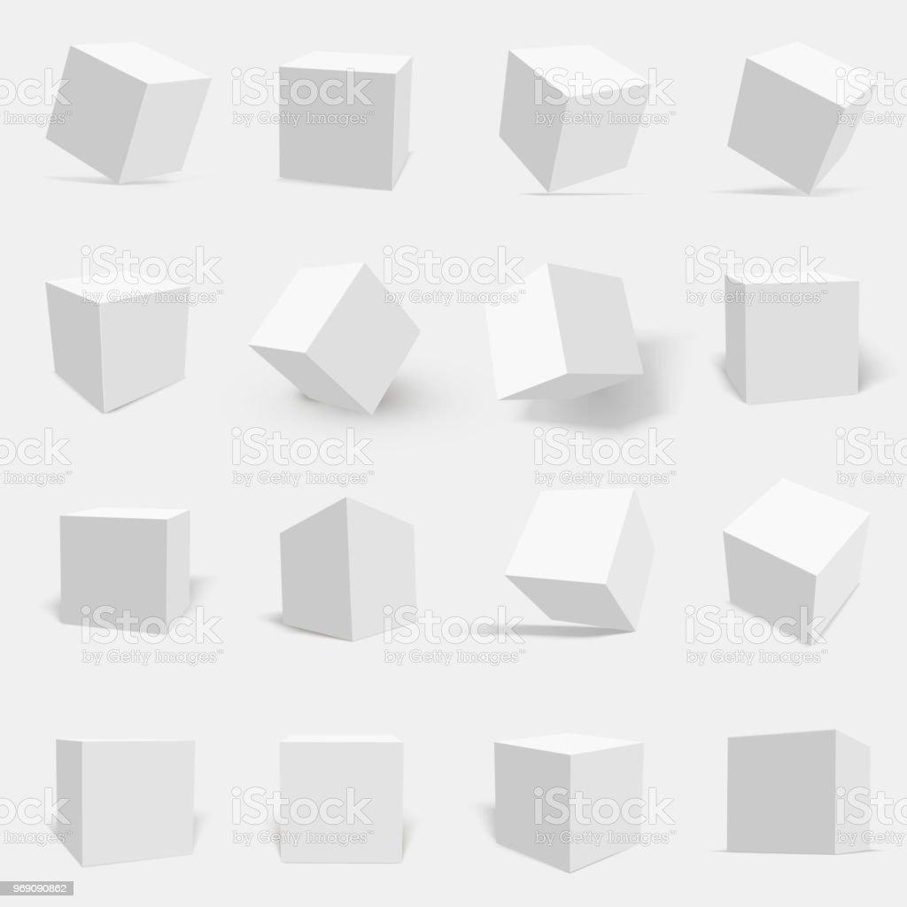 3d 화이트 큐브 세트 - 로열티 프리 3차원 형태 벡터 아트