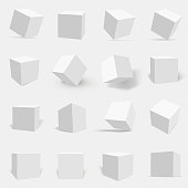 3d white cube set. Three dimensional solid object with six square surfaces, geometric poster. Vector flat style illustration