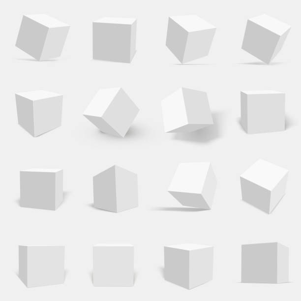 3d white cube set 3d white cube set. Three dimensional solid object with six square surfaces, geometric poster. Vector flat style illustration three dimensional stock illustrations